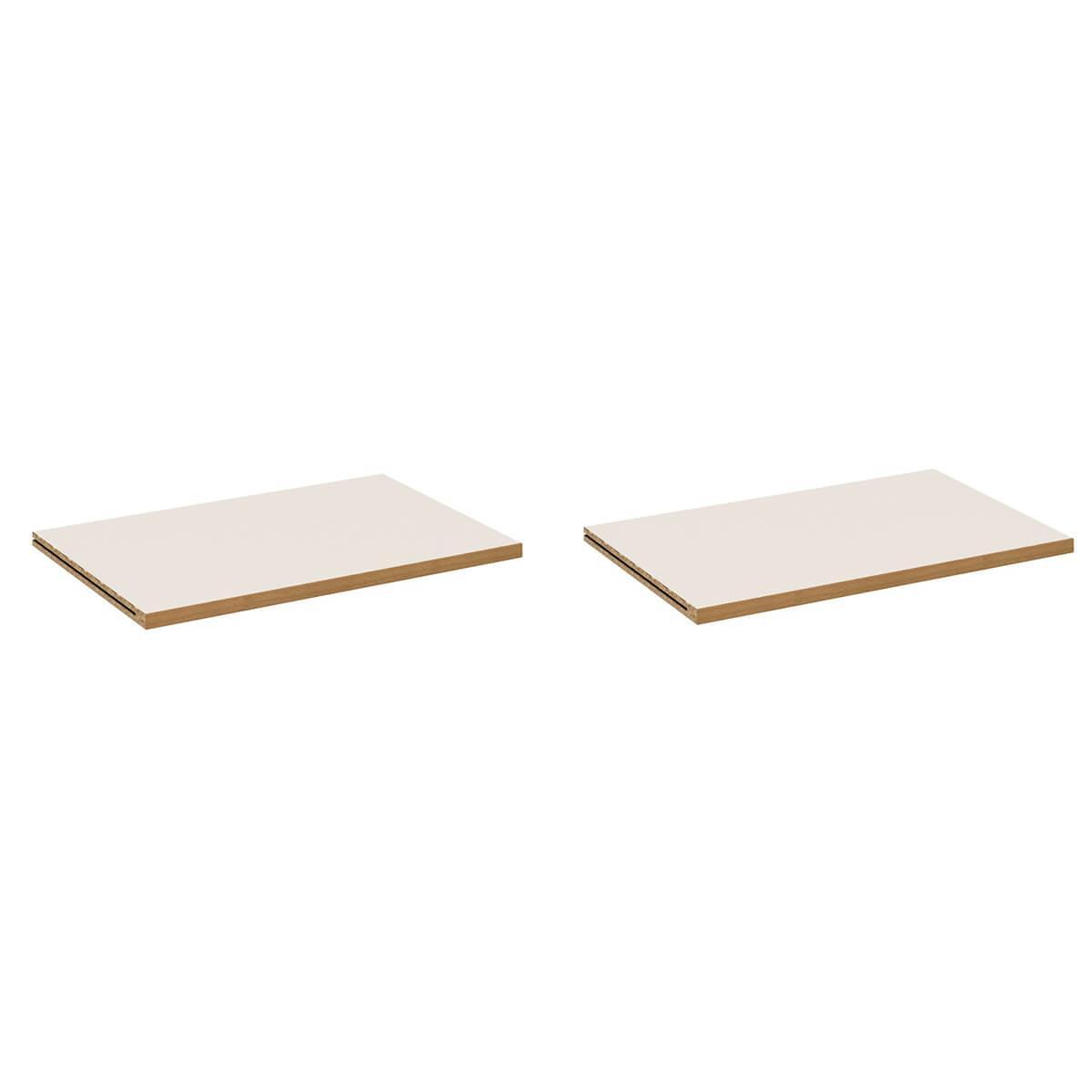 2 Einlegeböden DECOR Debreuyn - Melamin weiß mit Buchenkante