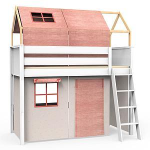 6 teiliges Textilien Set für Hochbett mit Dach KASVA Bobble pink