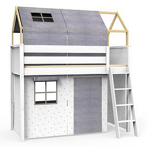 6 teiliges Textilien Set für Hochbett mit Dach KASVA Debreuyn Bobble grey