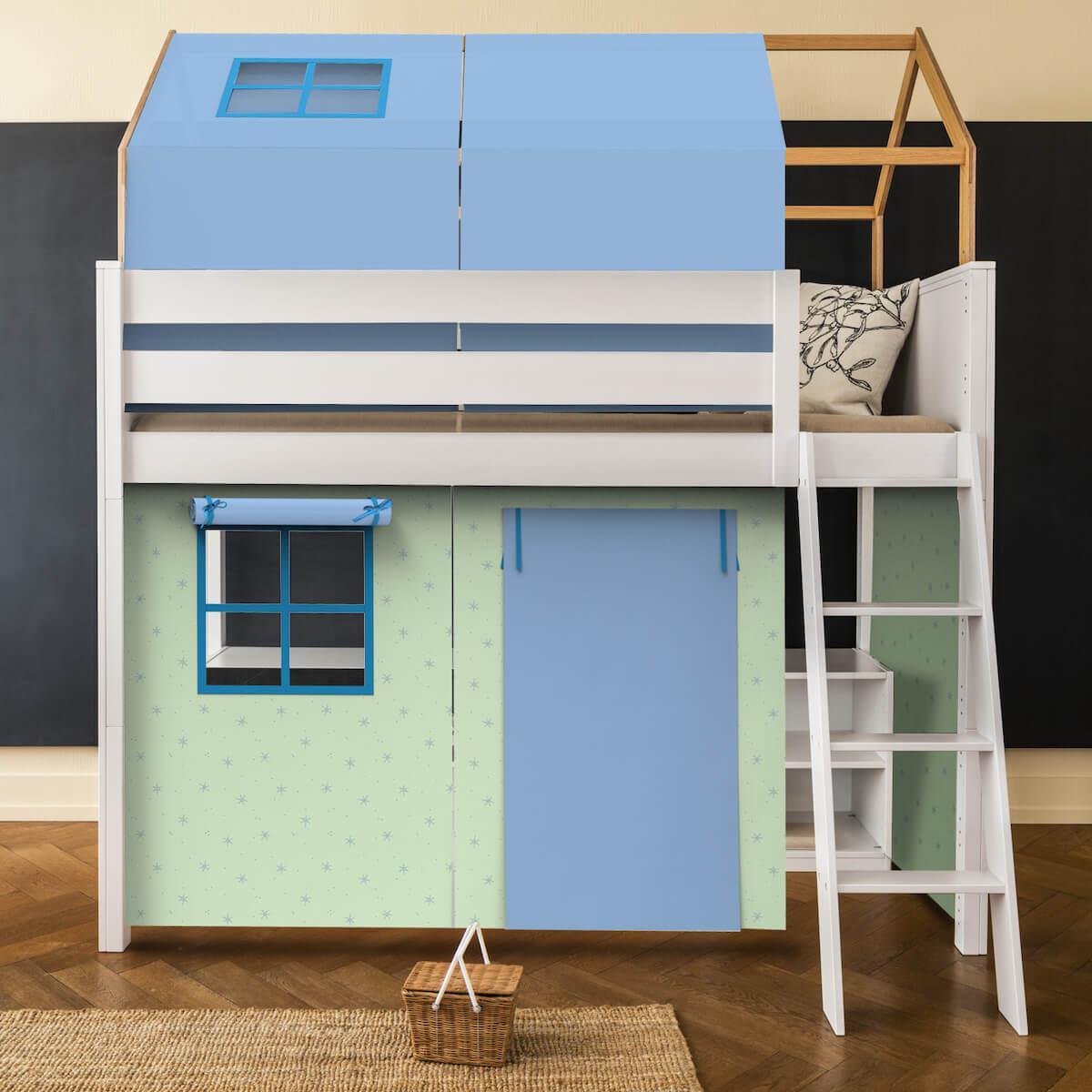 6 teiliges Textilien Set für Hochbett mit Dach KASVA Debreuyn Viena green-blue