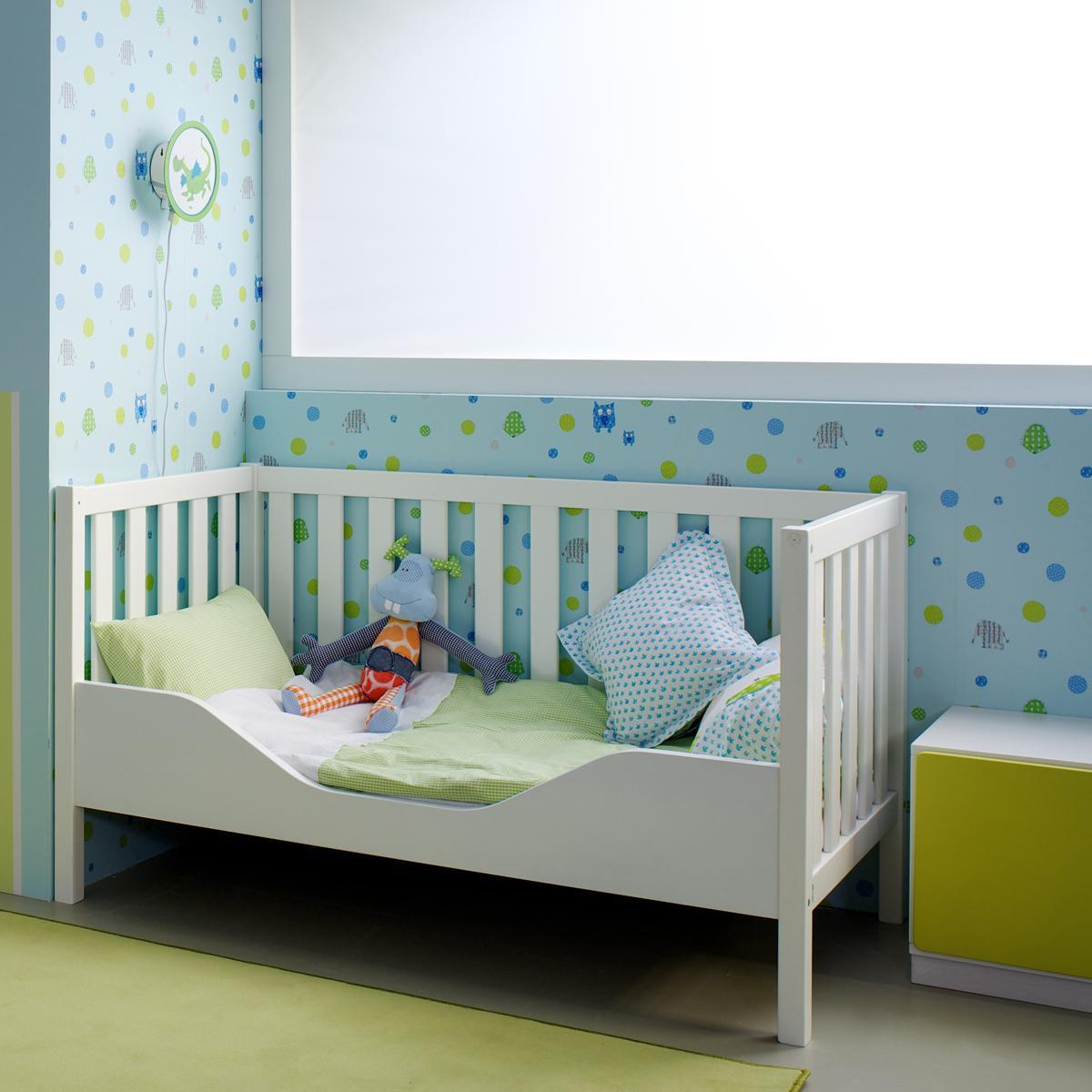 Austauschseite Babybett DETAIL Debreuyn Buche massiv weiß deckend lackiert