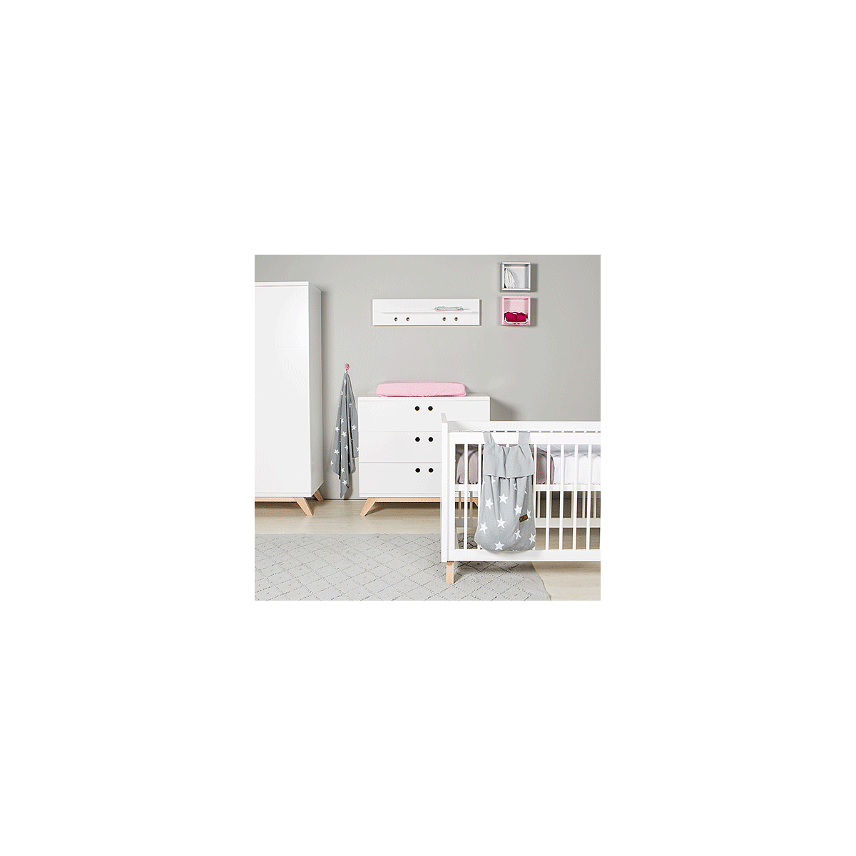 Babybett 60x120cm LYNN Bopita weiß-natur