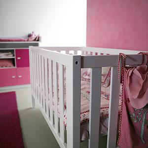 Babybett DETAIL Debreuyn Buche massiv weiß deckend lackiert