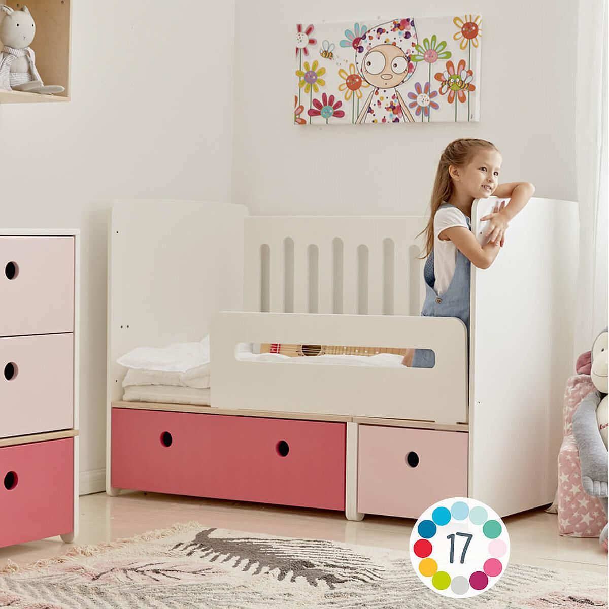 Babybett mitwachsend 70x140cm COLORFLEX pearl grey-sweet pink
