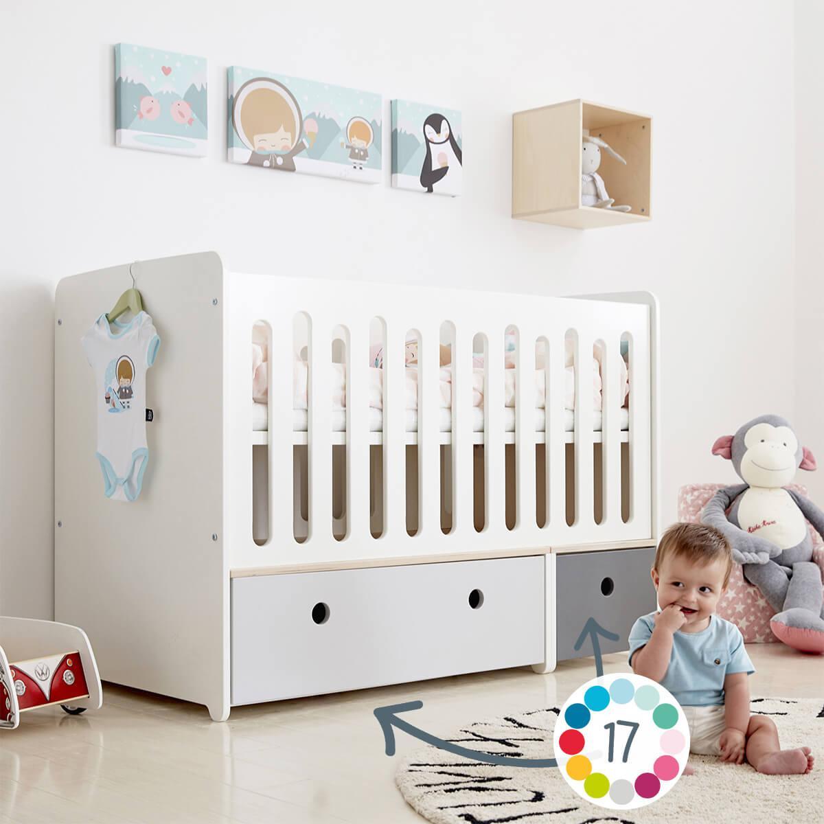 Babybett mitwachsend 70x140cm COLORFLEX pearl grey-white