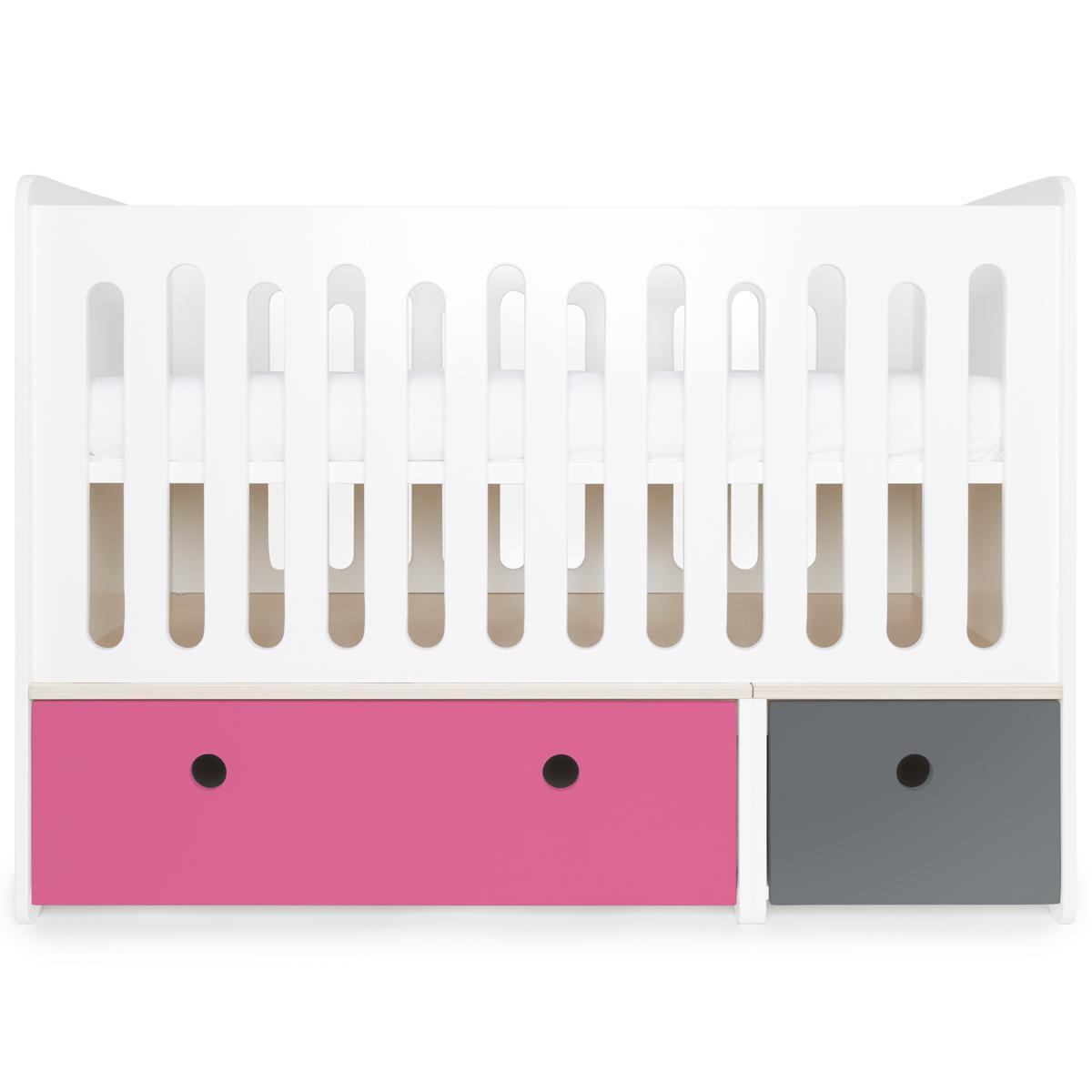 Babybett mitwachsend 70x140cm COLORFLEX pink-space grey