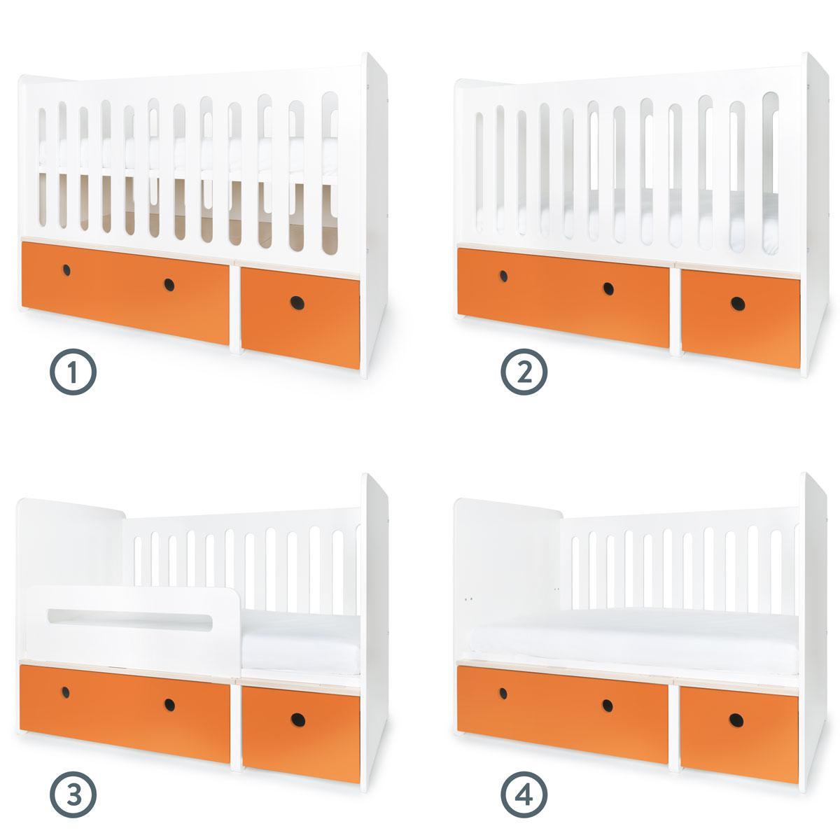 Babybett mitwachsend 70x140cm COLORFLEX pure orange