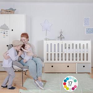 Babybett mitwachsend 70x140cm COLORFLEX sky blue-white wash