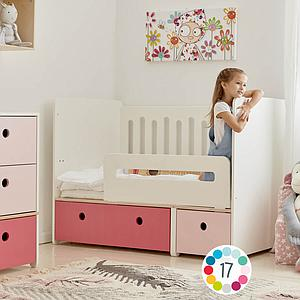 Babybett mitwachsend 70x140cm COLORFLEX sweet pink-pearl grey
