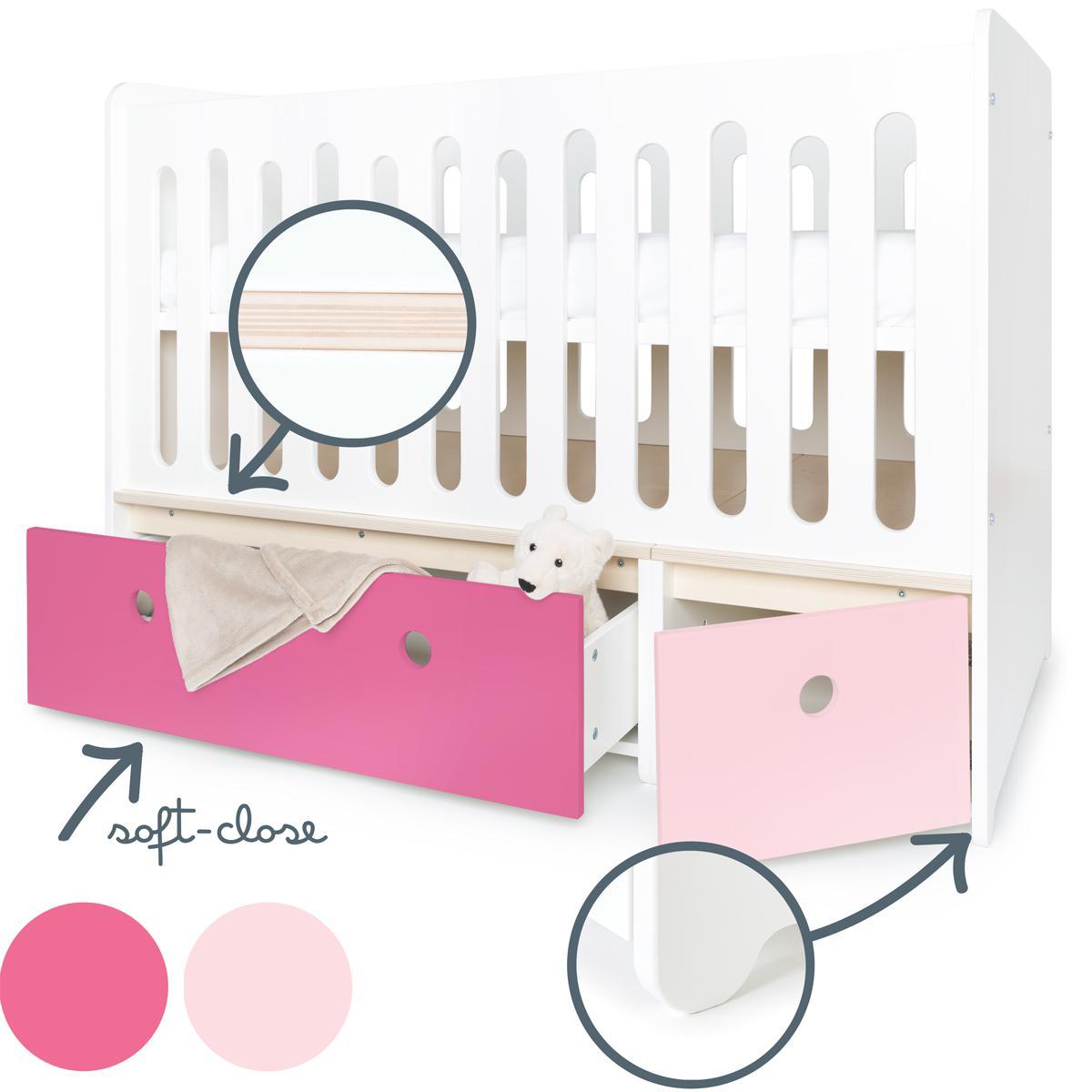 Babybett mitwachsend 70x140cm COLORFLEX sweet pink-pink
