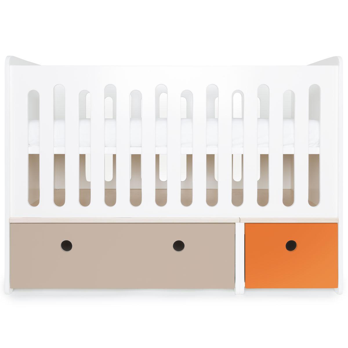Babybett mitwachsend 70x140cm COLORFLEX warm grey-pure orange
