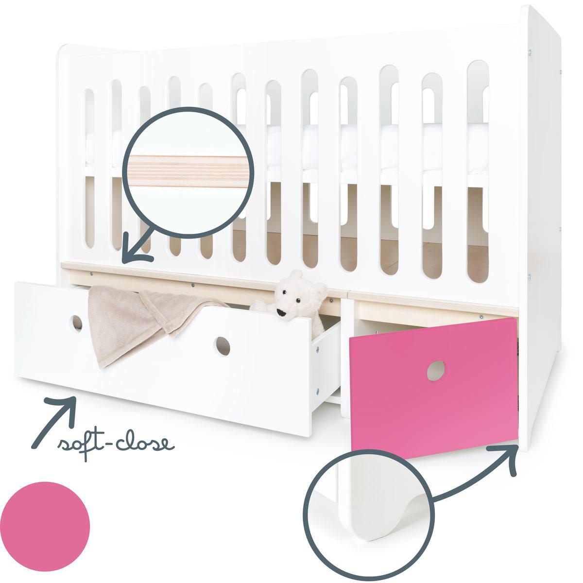 Babybett mitwachsend 70x140cm COLORFLEX white-pink