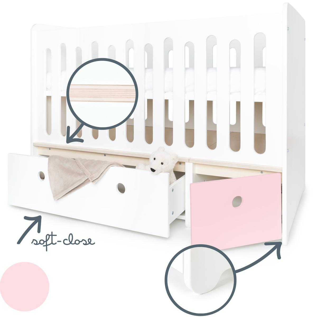 Babybett mitwachsend 70x140cm COLORFLEX white-sweet pink