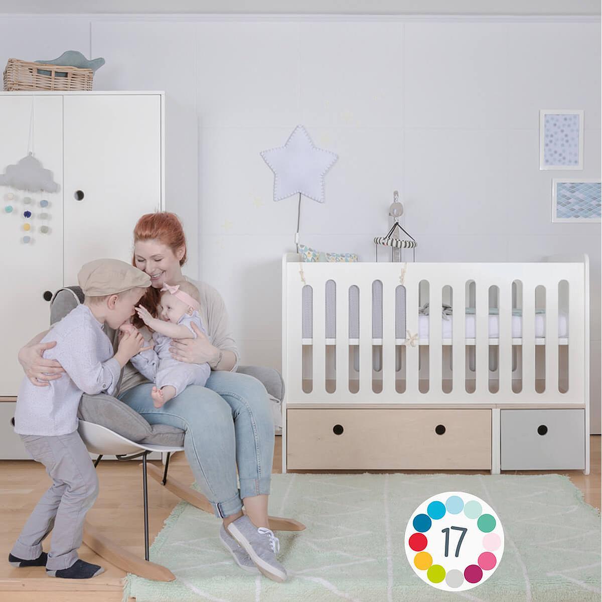 Babybett mitwachsend 70x140cm COLORFLEX white wash-pearl grey