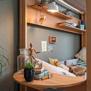 Bett-Ablagetisch halbrund seitliches Anbauteil Bettzusatz DESTYLE Debreuyn  Buche massiv -natur geölt