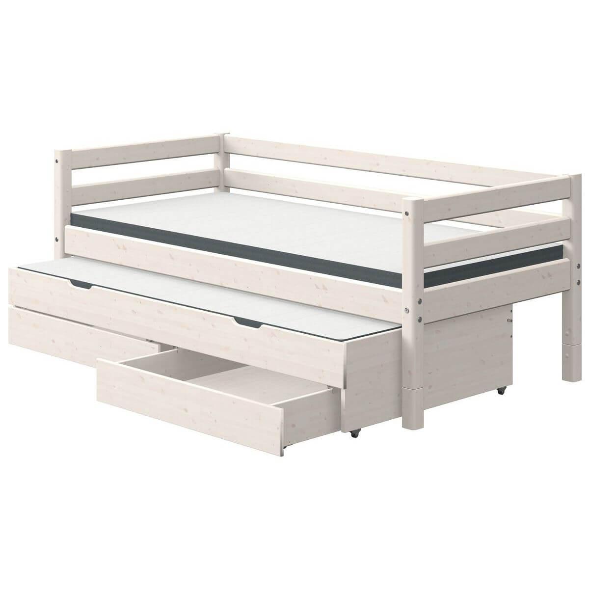 Bett + Ausziehbett auf Rollen + 2 Schubladen 90x190cm CLASSIC Flexa whitewash