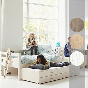 Bett + Ausziehbett auf Rollen 90x190cm CLASSIC Flexa terra