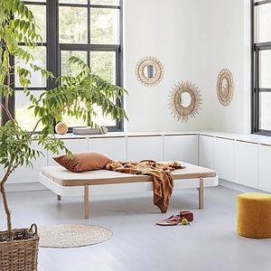 Bett Lounger 120cm WOOD Oliver Furniture Weiß-Eiche