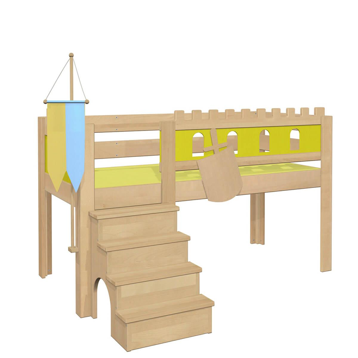 Burg halbhohes Bett DELUXE Debreuyn geölt - Füllungen grün