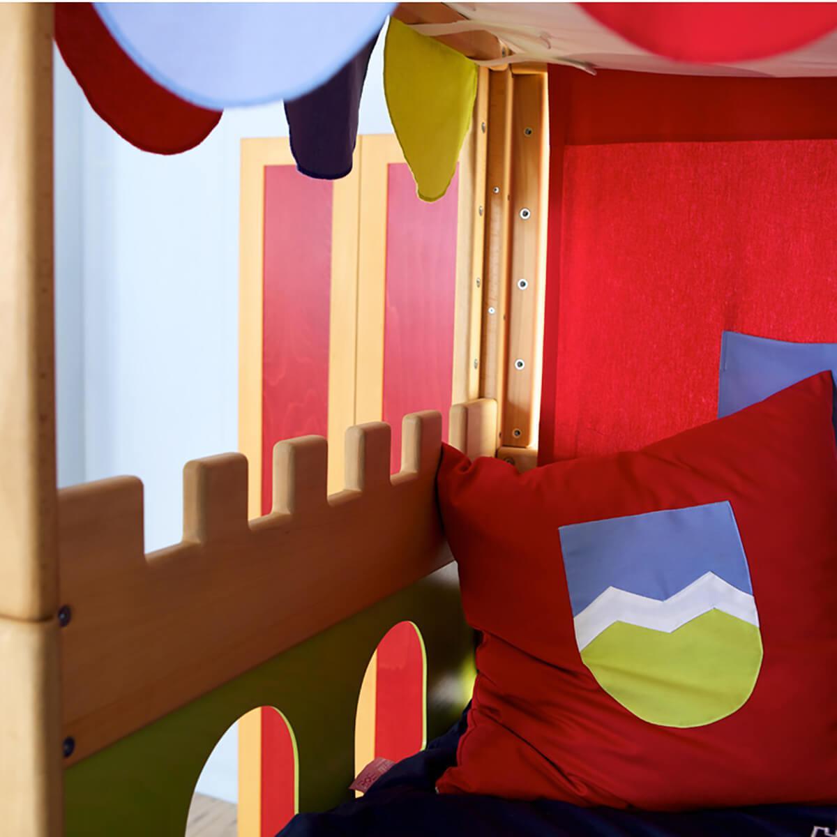 Burg halbhohes Bett mit Baldachin DELUXE Debreuyn geölt - Füllungen grün