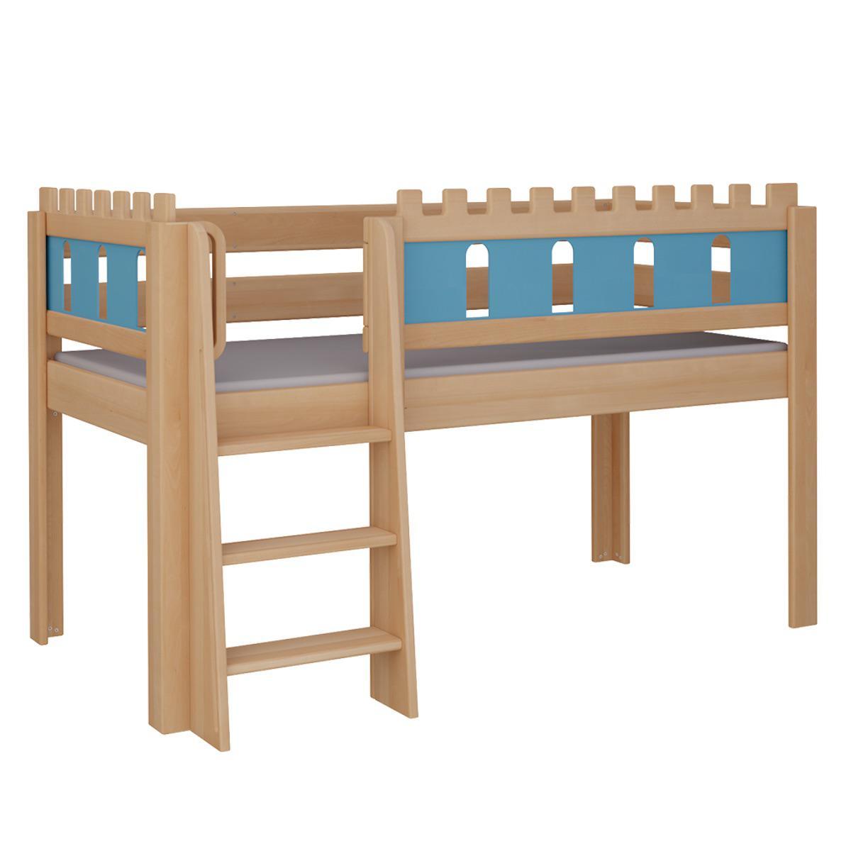 Burg halbhohes Bett mit Leiterstiege DELUXE De Breuyn natur geölt Füllungen blau