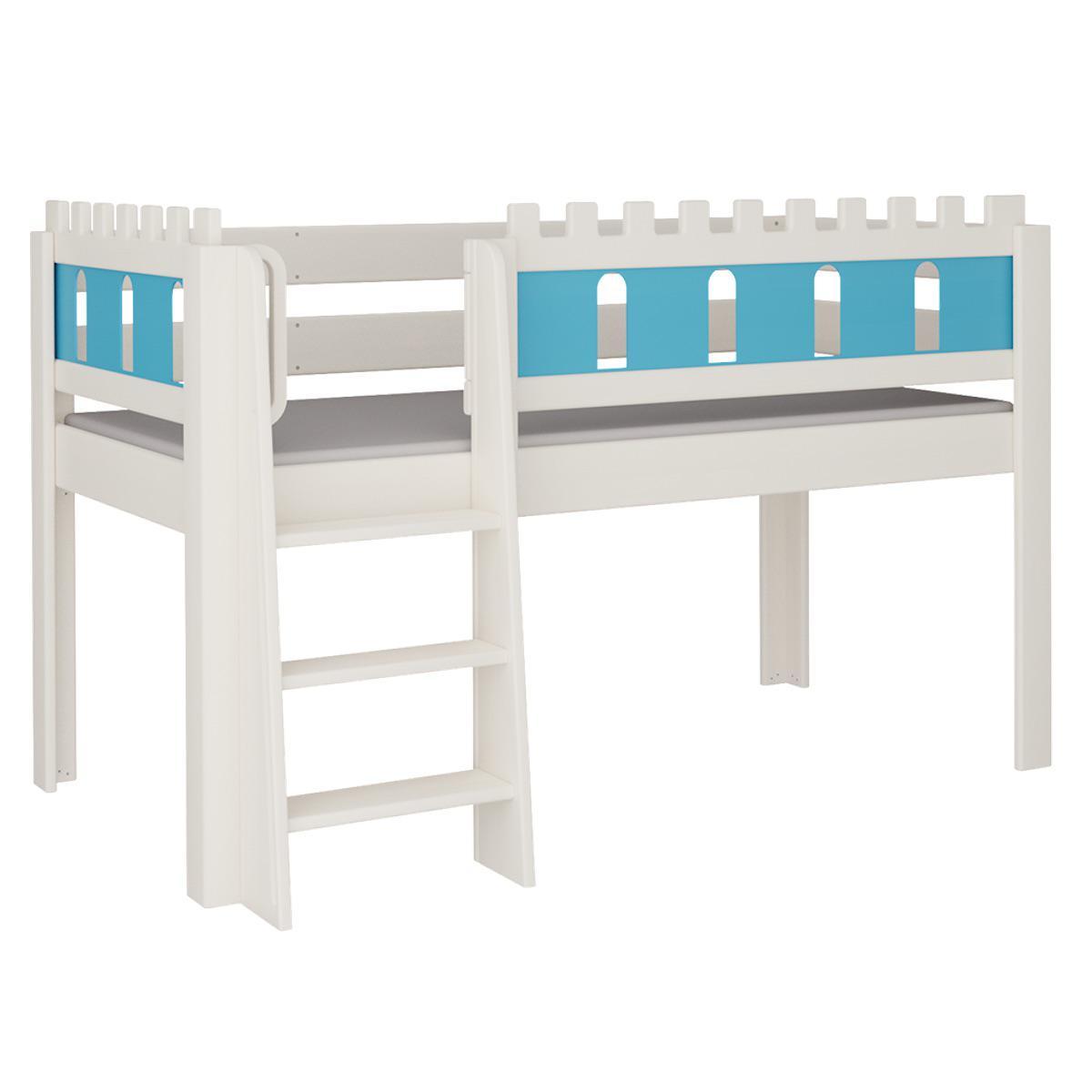 Burg halbhohes Bett mit Leiterstiege DELUXE De Breuyn weiß Füllungen blau