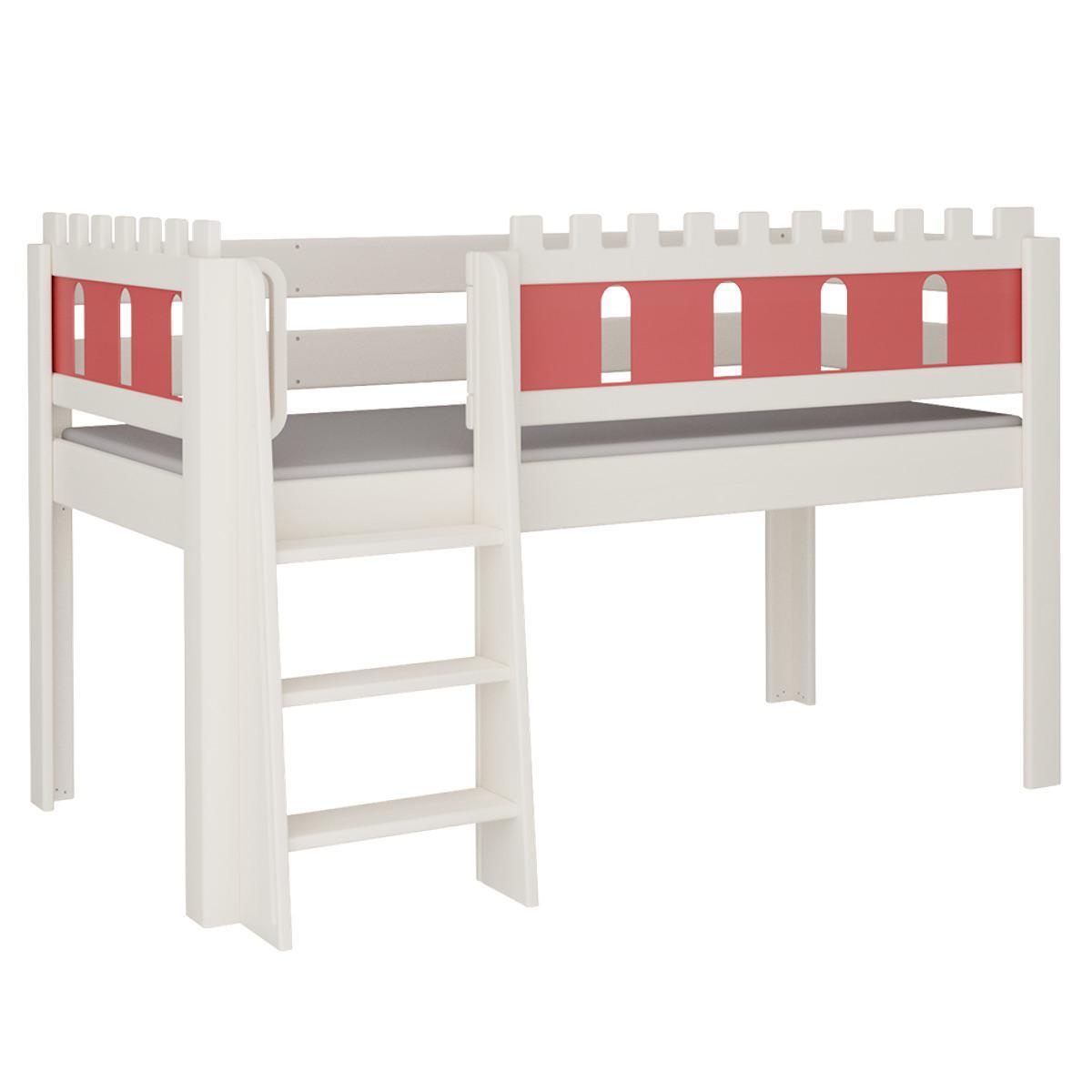 Burg halbhohes Bett mit Leiterstiege DELUXE De Breuyn weiß Füllungen rot