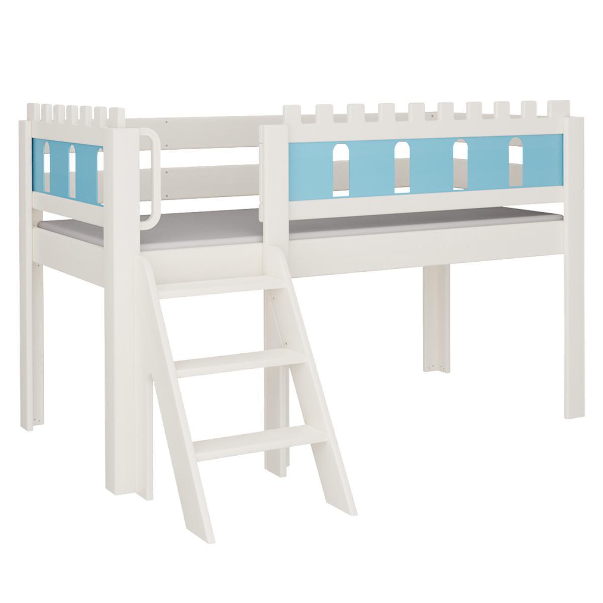 Burg halbhohes Bett mit Treppe DELUXE De Breuyn weiß Füllungen blau