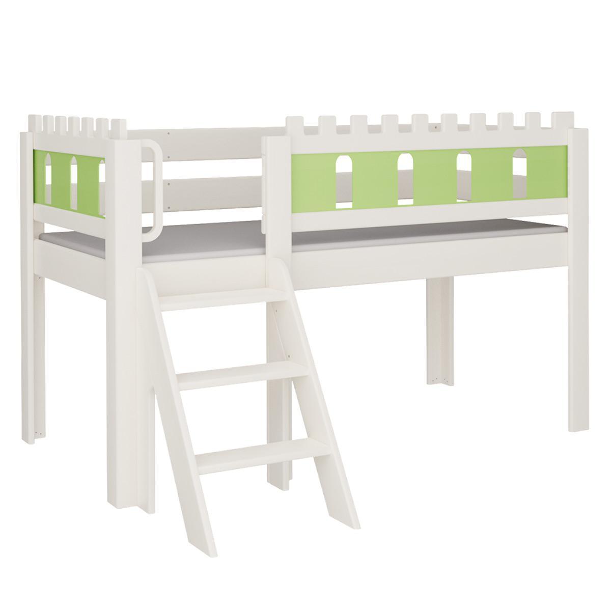 Burg halbhohes Bett mit Treppe DELUXE De Breuyn weiß Füllungen grün