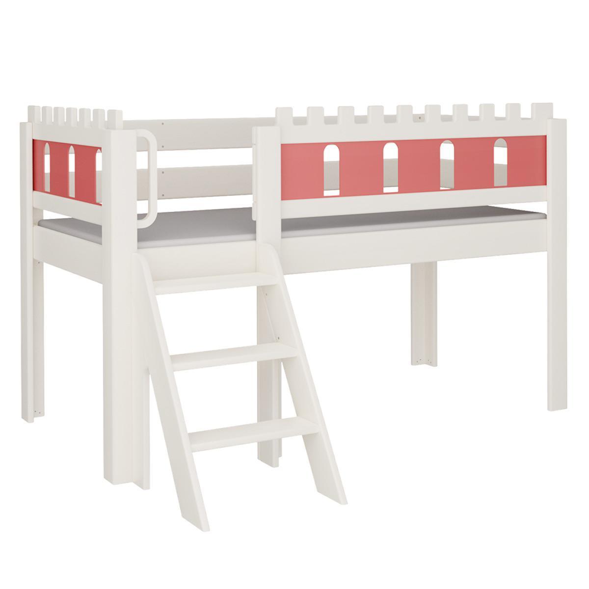 Burg halbhohes Bett mit Treppe DELUXE De Breuyn weiß Füllungen rot