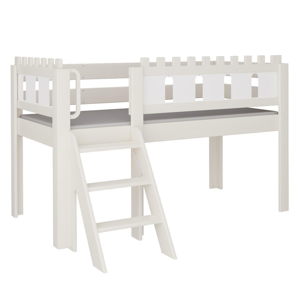 Burg halbhohes Bett mit Treppe DELUXE De Breuyn weiß Füllungen weiß