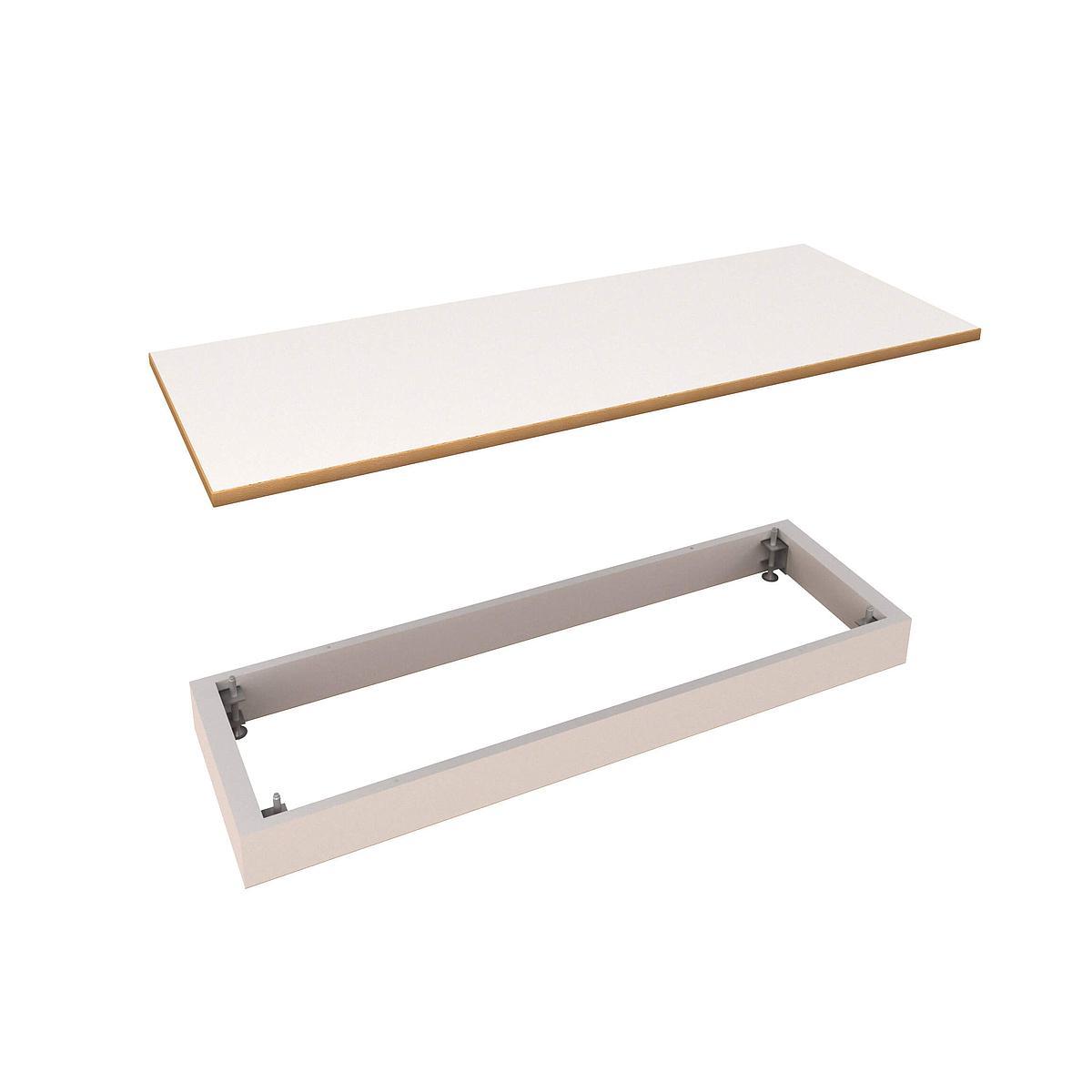 Deckplatte und Sockel breit DECOR Debreuyn - Melamin weiß mit Buchenkante