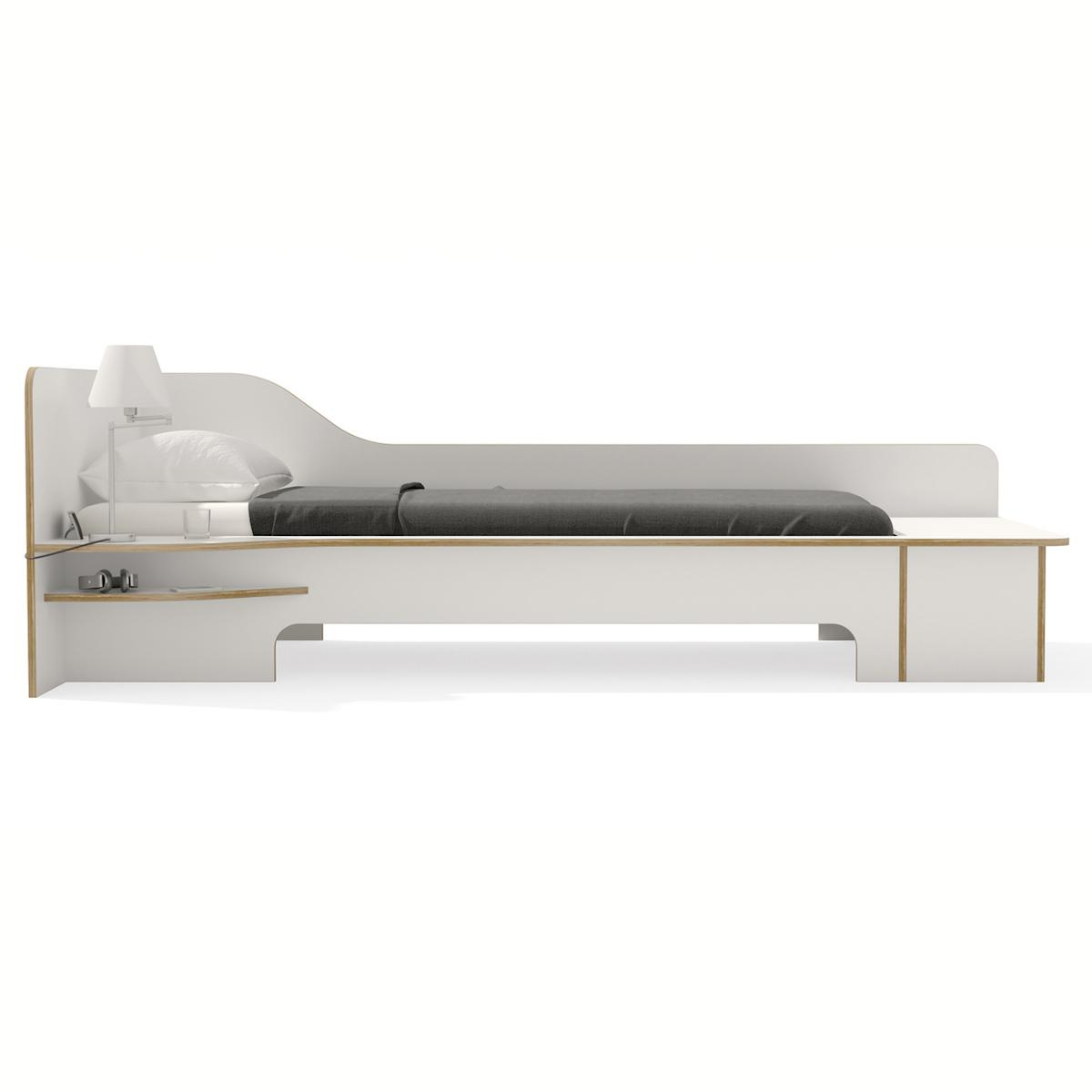 Einzelbett 90x200cm Bettkasten linke Ausführung PLANE Mueller weiß