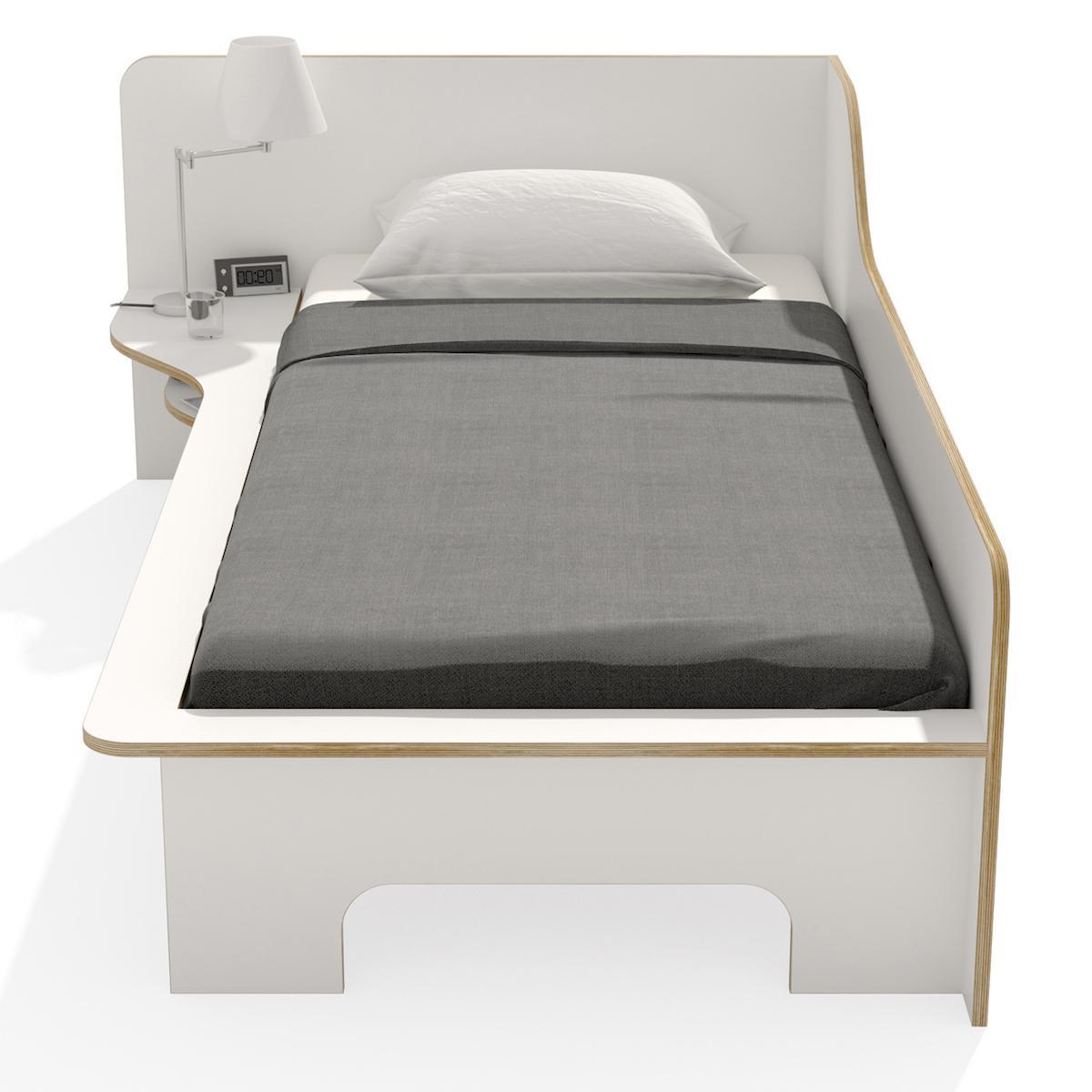 Einzelbett 90x200cm linke Ausführung PLANE Mueller weiß-Birkenkante