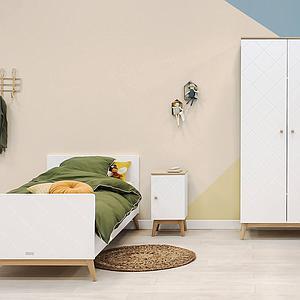 Einzelbett 90x200cm PARIS Bopita Weiß-Eiche