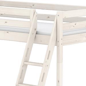 Etagenbett 90x190cm + Doppelbett 140x190c + geneigte Leiter CLASSIC by Flexa whitewash