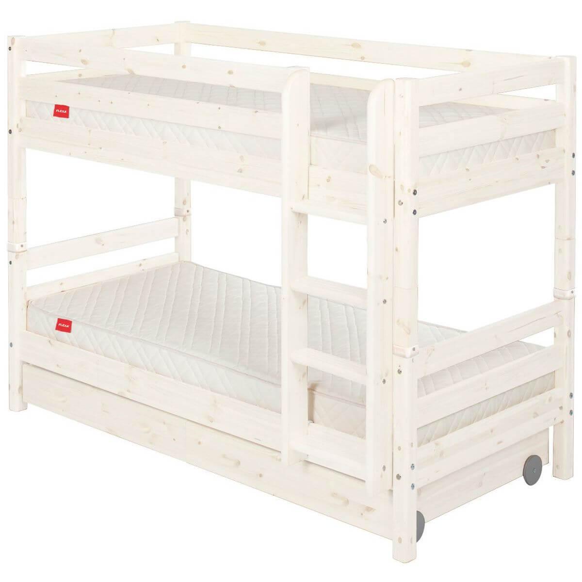 Etagenbett 90x190cm + gerade Leiter + 2 Schubladen CLASSIC by Flexa whitewash