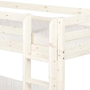 Etagenbett 90x190cm + gerade Leiter CLASSIC LINE by Flexa whitewash