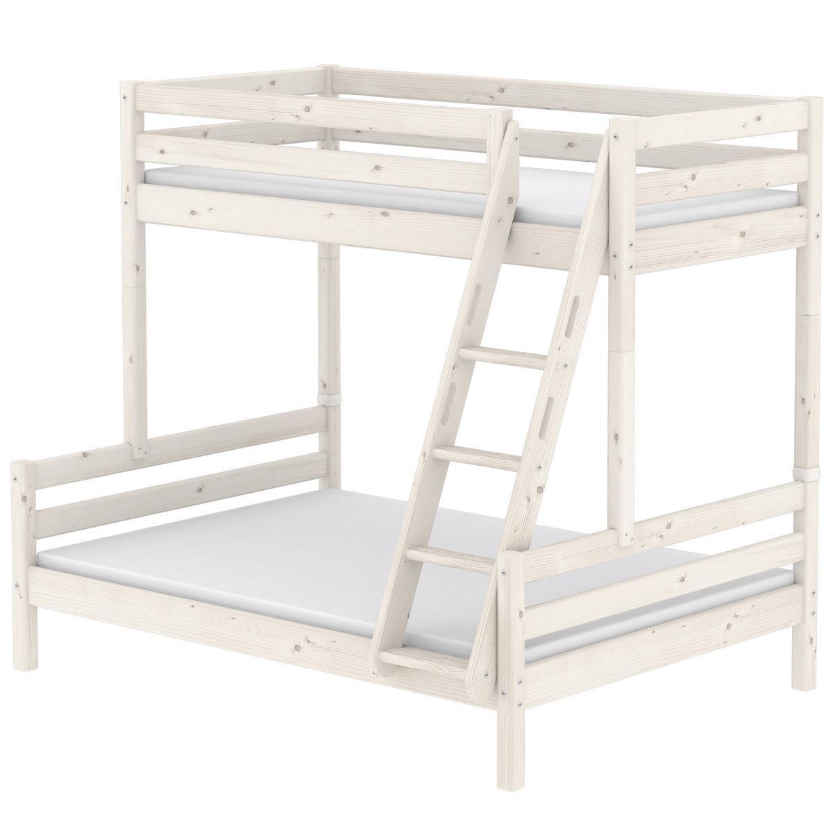 Etagenbett 90x200cm + Doppelbett 140x200c + geneigte Leiter CLASSIC by Flexa