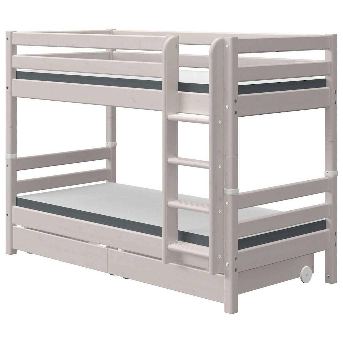 Etagenbett 90x200cm gerade Leiter 2 Schubladen CLASSIC grey washed