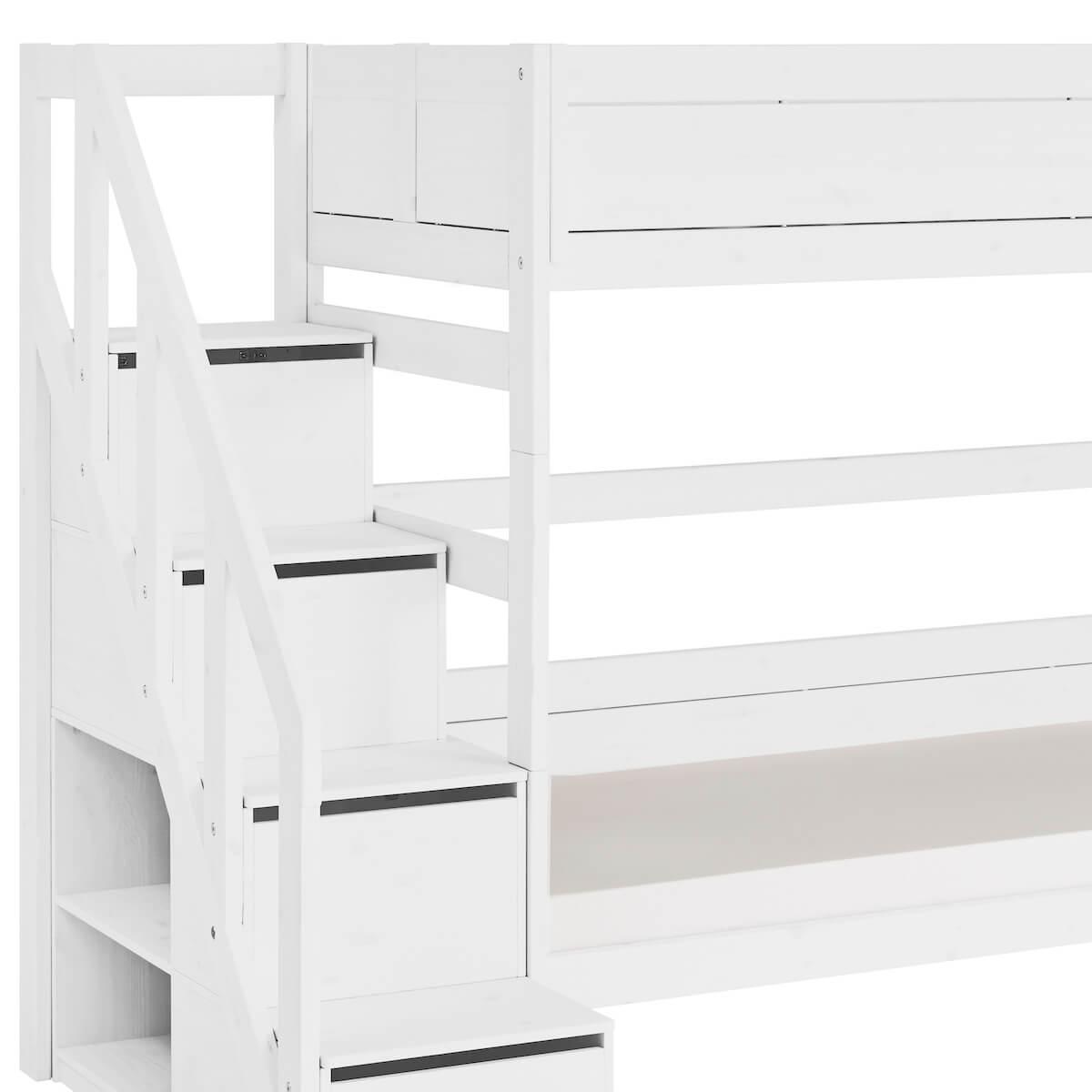 Etagenbett 90x200cm Treppe Lifetime Weiß