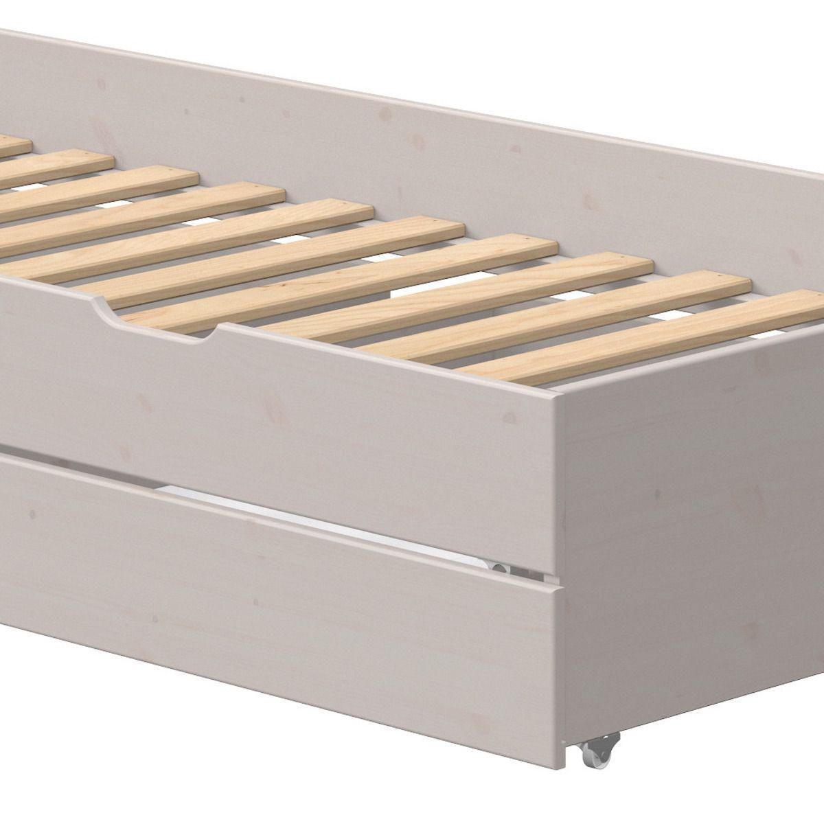 Gastebett 90x190cm 2 Schubladen niedriges Bett CLASSIC Flexa grey washed