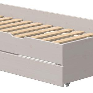 Gastebett 90x200cm 2 Schubladen niedriges Bett CLASSIC Flexa grey washed