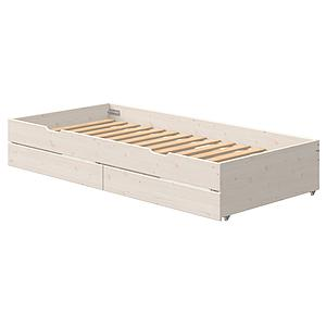 Gästebett auf Rollen 2 Schubladen 90x200cm CLASSIC Flexa white wash