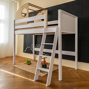 Hablbhoes Bett-Kajuete hoch KASVA Buche massiv weiß-lackiert Eiche furniert-geölt