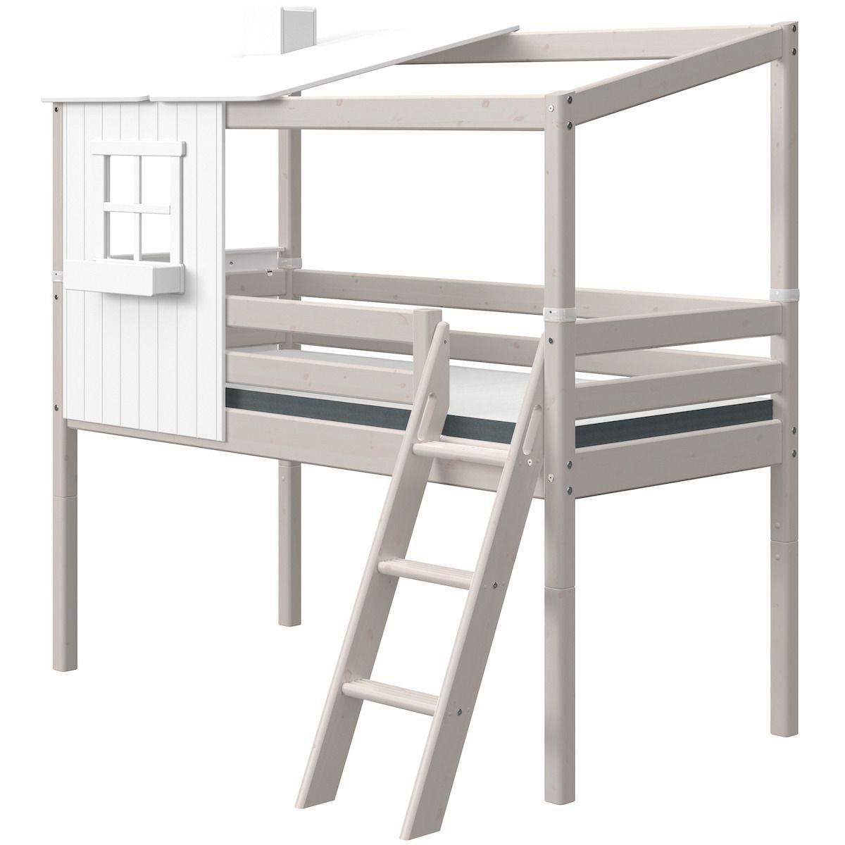 Halbhoch Spielbett mitwachsend 90x190cm 1-2 PLAY HOUSE CLASSIC Flexa weiß-grey washed