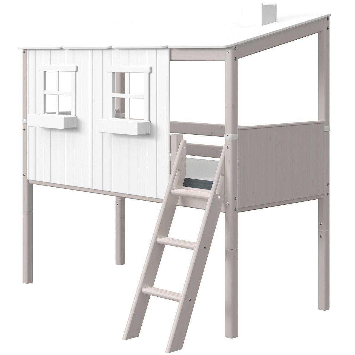 Halbhochbett mitwachsend 90x200cm PLAY HOUSE CLASSIC Flexa weiß-grey washed