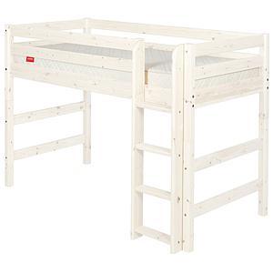 Halbhohes Bett 90x190 cm + gerade Leiter CLASSIC by Flexa whitewash