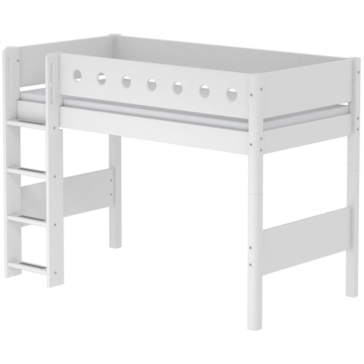 Halbhohes Bett 90x190 gerade Leiter WHITE Flexa weiß-weiß