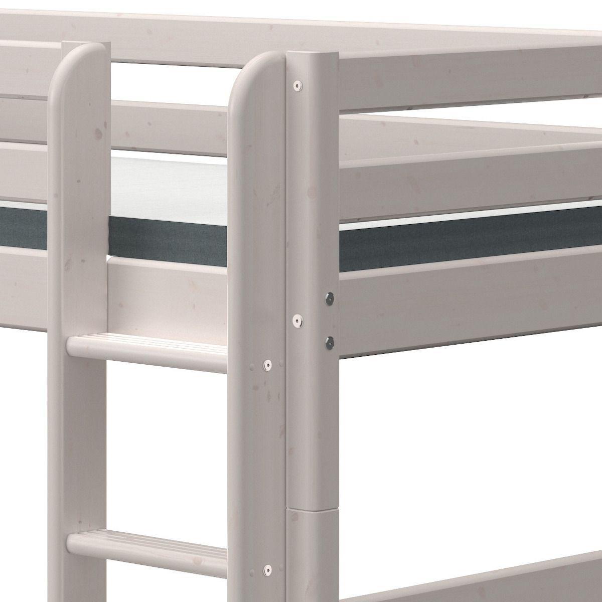 Halbhohes Bett 90x190cm gerade Leiter CLASSIC Flexa grey washed